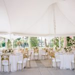Wedding reception tablescape design tent Empire Polo Club Elegant fusion wedding