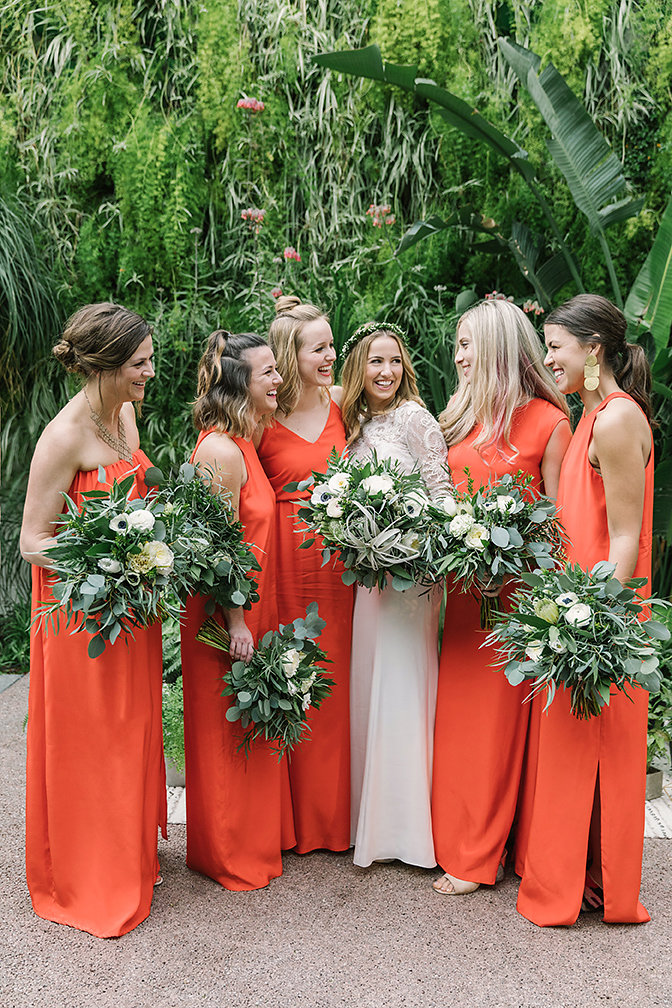 Downtown urban wedding featuring jungle elements, greenery, and modern touches by RO & Co. Events