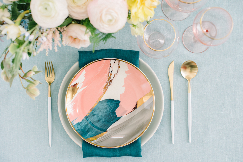 Add a pop of color to your wedding gift registry with this salad plate from West Elm. Styling by RO & Co. Events with Rebelle Fleurs and Krista Mason Photography.