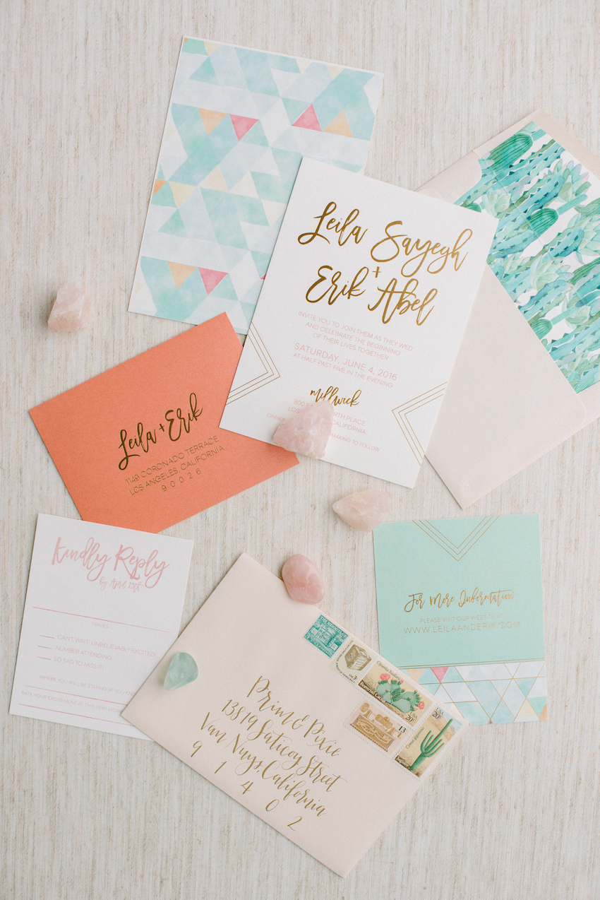 Invitation suite and stationery for events and weddings by Prim and Pixie modern colorful LA wedding designed by RO and Co Events