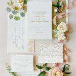 Gold blind letterpress Wedding invitation calligraphy stationery from Elegant Fusion Wedding
