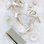 Bride wedding accessories flatlay Jimmy Choo The Mrs. Box from Elegant Fusion Wedding