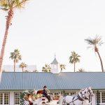 Wedding Ceremony horse and carriage Empire Polo Club Elegant fusion wedding