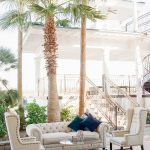 White tufted lounge furniture for Empire Polo Club elegant fusion wedding