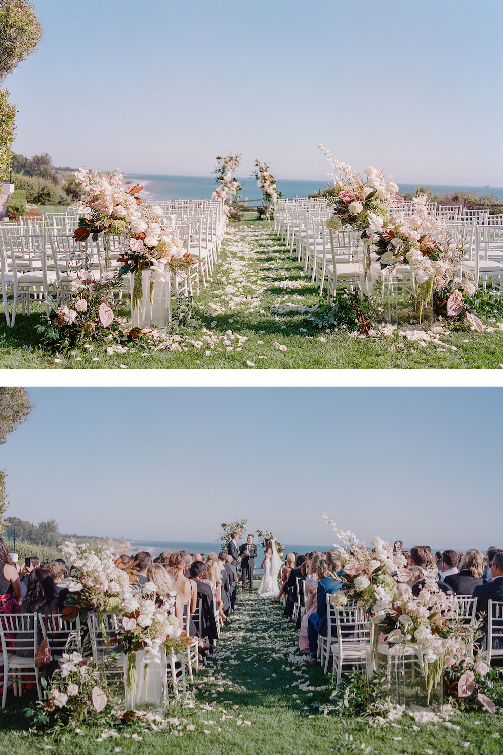 Abundant ceremony backdrop floral arrangements on clear acrylic plexiglass panels gives an organic feel to the cliffside ceremony overlooking the ocean.