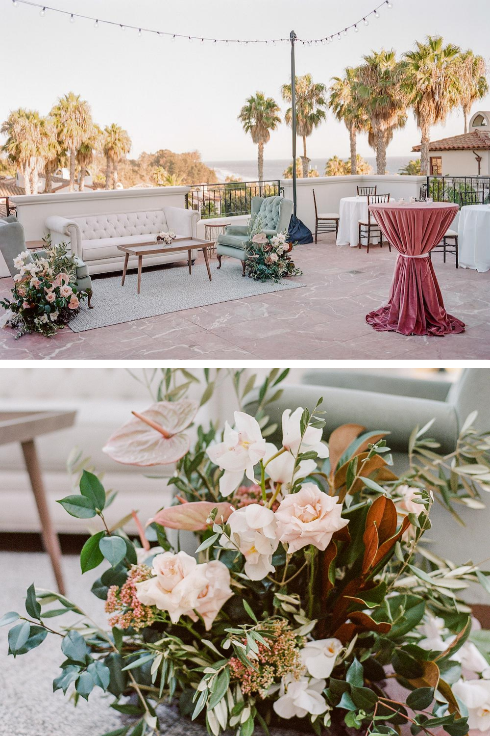A romantic furniture lounge in soft colors with leafy floral arrangements on a terrace overlooking the Pacific Ocean on the terrace at the Ritz-Carlton Bacara resort.