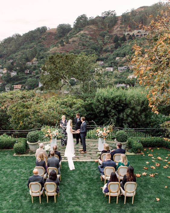 An intimate backyard wedding with a view in Sausalito, California