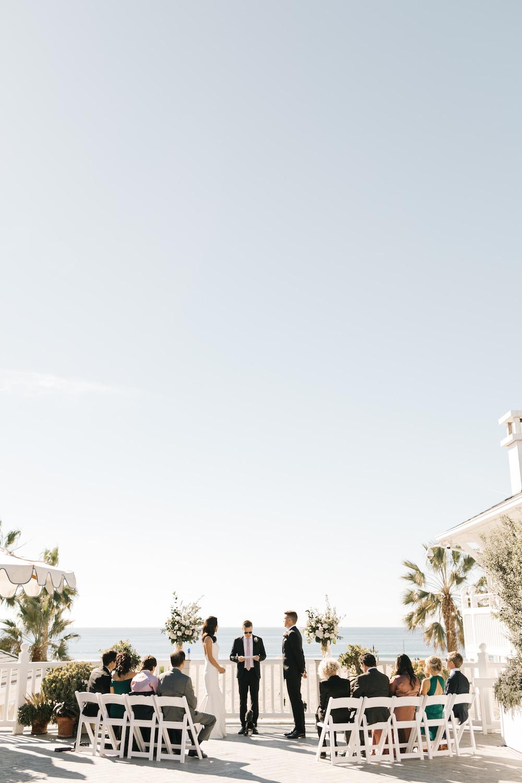 An intimate outdoor wedding overlooking the ocean in Santa Monica, California.