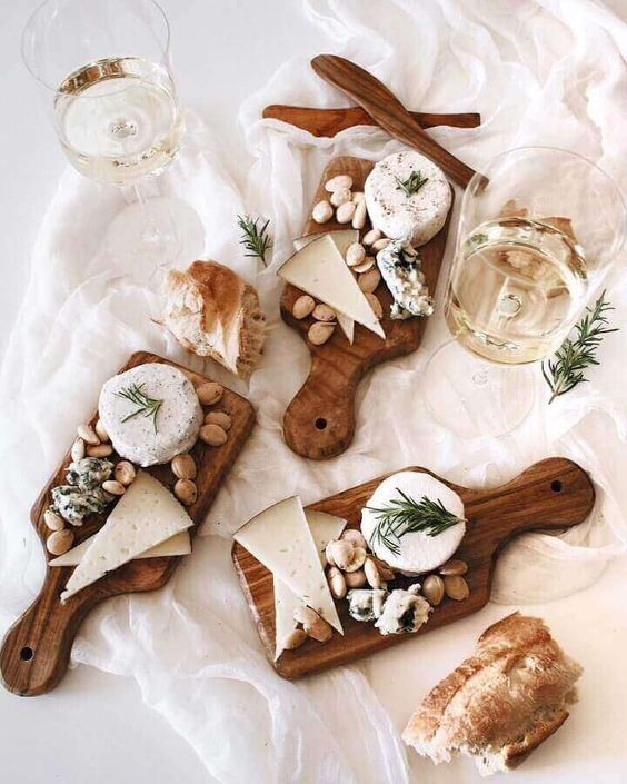 Single serving cheese boards and wine