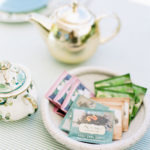 A selection of teas are offered at this modern high tea baby shower.