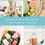 This Tulum-inspired boho beach birthday party has all of the colorful details to transport you to a tropical destination.